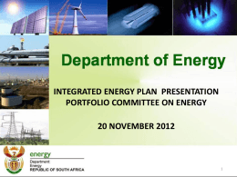 DoE presentation: IEP update - South African Photovoltaic Industry