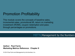 Promotion Profitability - Management By The Numbers