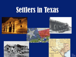 Early Settler Period in Texas 1700-1800