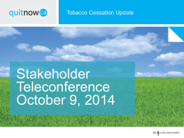 141008 Tobacco Cessation Update teleconference
