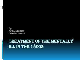 Treatment of the Mentally Ill in the 1800s