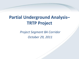 Partial Underground Analysis– TRTP Project