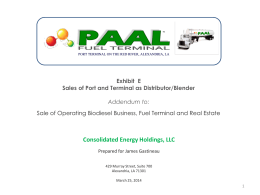 Exhibit E Sales of Port and Terminal as Distributor/Blender