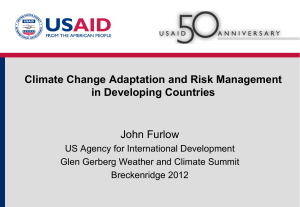 Climate Change Adaptation and Risk Management in Developing