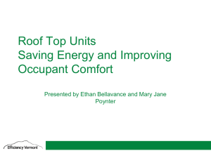 Savings Energy and Improving Occupant Comfort