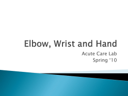 Elbow, Wrist and Hand - Athletic Taping and Bracing