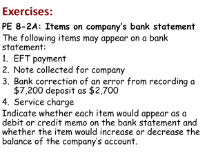 Exercises: PE 8-2A: Items on company`s bank