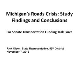 to the Senate Transportation Funding Task Force, November 7