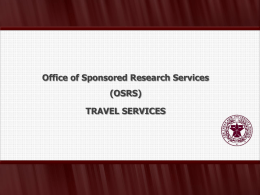 TRAVEL SERVICES - Texas A&M Sponsored Research Services