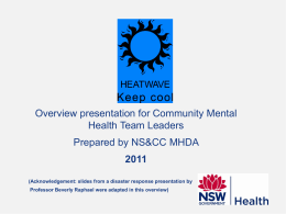 Overview presentation for Community Mental Health Team Leaders