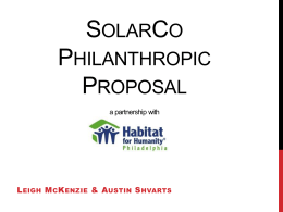 SolarCo Philanthropic Proposal a partnership with