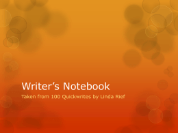 Writer*s Notebook