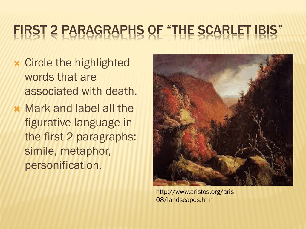 first paragraphs of the scarlet ibis