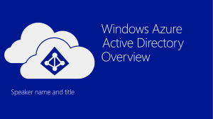 Windows Azure Active Directory Overview