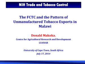 The FCTC and the Pattern of Unmanufactured Tobacco Exports in