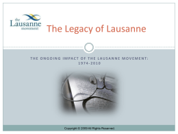 Lesson 3 - The Legacy of Lausanne