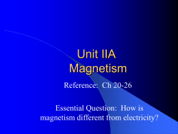 Unit IIA Electricity and Magnetism