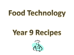 Food Technology Y9 recipes large print version