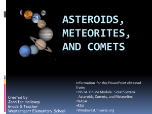 Asteroids, meteorites, and comets
