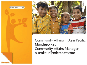 Community Affairs in Asia Pacific