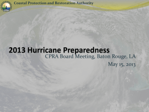 CPRA Response Activities Hurricane Isaac