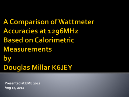 A Comparison of Wattmeter Accuracies at 1296MHz
