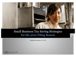 Small Business Tax Saving Strategies for the 2012 Filing