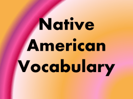 Native American Vocabulary