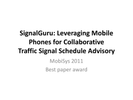 SignalGuru - Network and Systems Laboratory