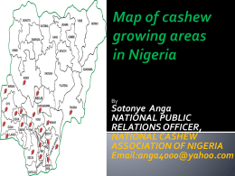 Map of cashew growing areas in Nigeria