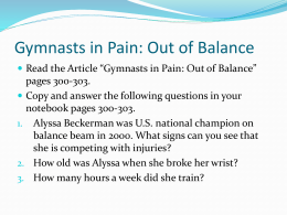 Gymnasts in Pain: Out of Balance