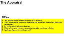 The Appraisal - musicgcse.com