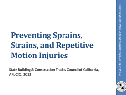 Preventing Strains, Sprains, and Repetitive Motion Injuries