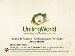 Rights & Religion – Considerations for Pacific Development