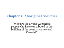 Chapter 1: Aboriginal Societies