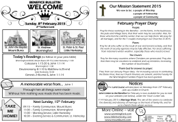 Benefice Bulletin 8 February 2015
