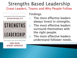 Strengths Based Leadership Great Leaders, Teams and Why