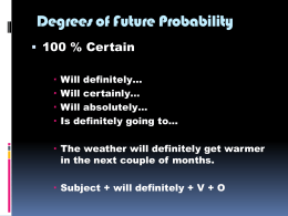 Unit 3 Degrees of Future Probability