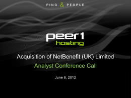 Analyst Conference Call - NetBenefit Acquisition