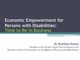 Economic Empowerment for Persons with Disabilities