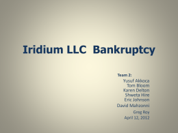 Iridium LLC Bankruptcy Team 2