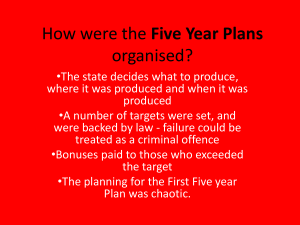 How were the Five Year Plans organised?
