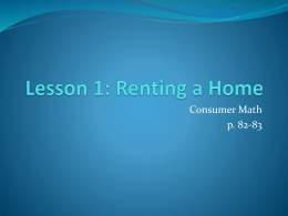 Lesson 1: Renting a Home