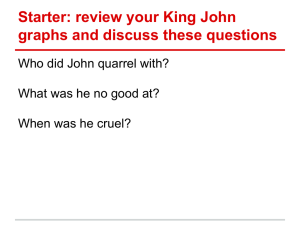 Starter: review your King John graphs and discuss these questions