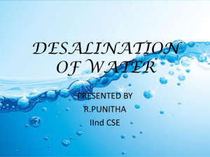 DESALINATION OF WATER