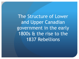 The Structure of Lower and Upper Canadian government in the