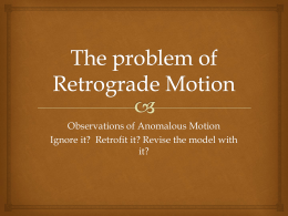 The problem of Retrograde Motion