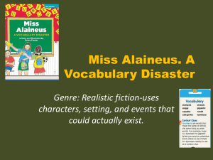 Miss Alaineus. A Vocabulary Disaster