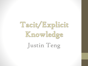 Tacit/Explicit Knowledge - cct355-f12
