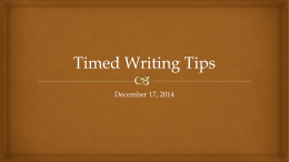 Timed Writing Tips 2014